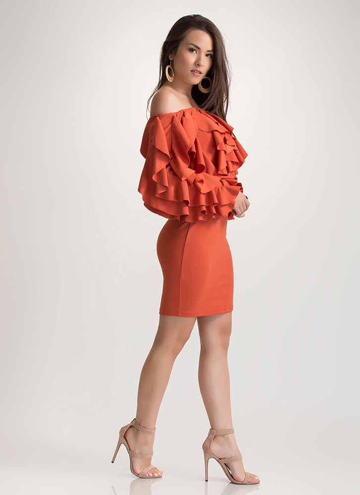 Drama Queen Ruffled Off-Shoulder Dress GINGER