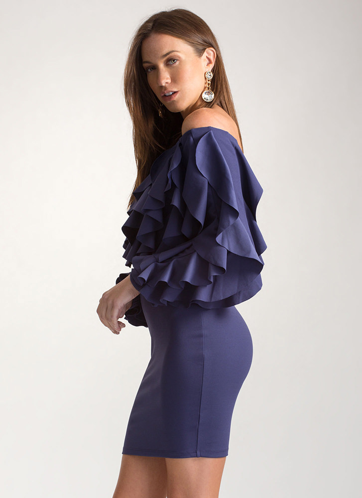 Drama Queen Ruffled Off-Shoulder Dress NAVY