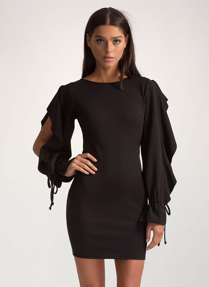 Looking For A Frill Ruffled Mini Dress BLACK