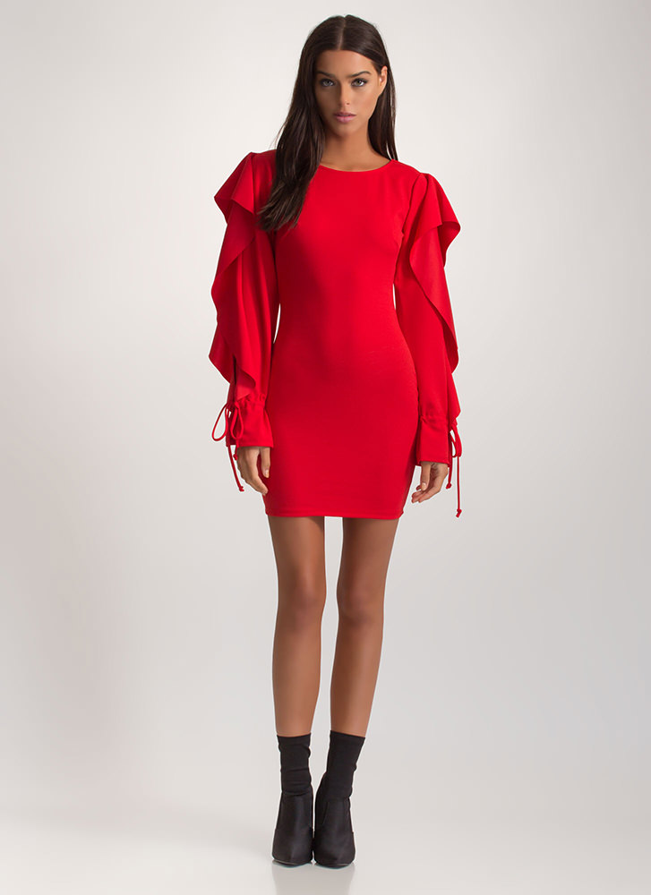Looking For A Frill Ruffled Mini Dress RED