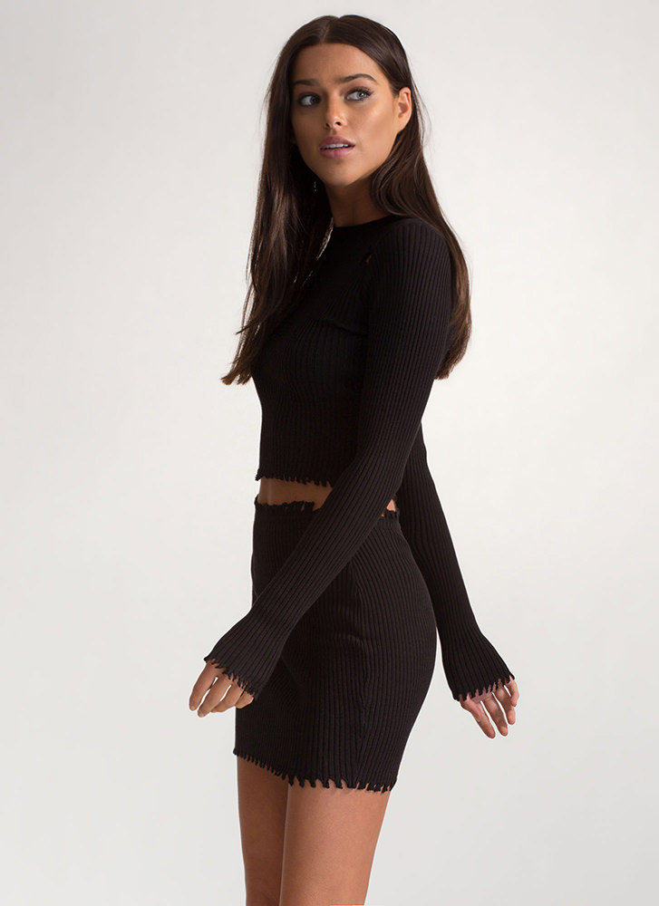 Distress Relief Ribbed Two-Piece Dress BLACK