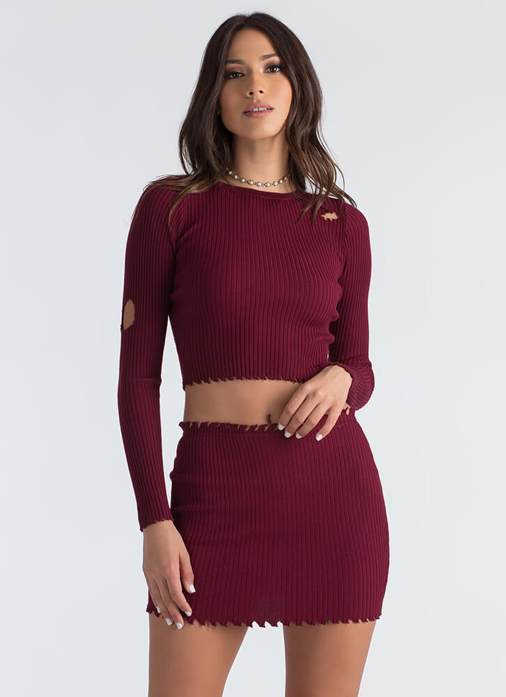 Distress Relief Ribbed Two-Piece Dress BURGUNDY