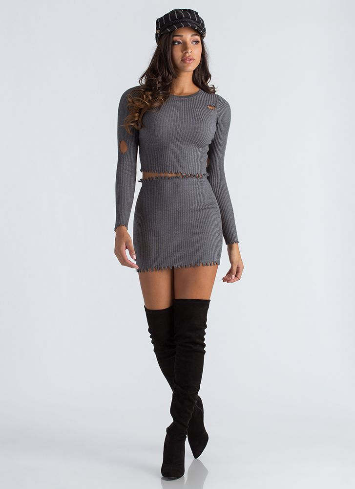 Distress Relief Ribbed Two-Piece Dress CHARCOAL