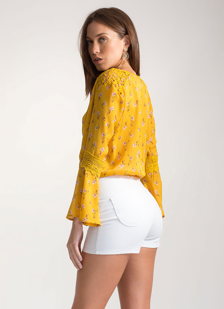 Natural Meadow Floral Bell Sleeve Top MUSTARD