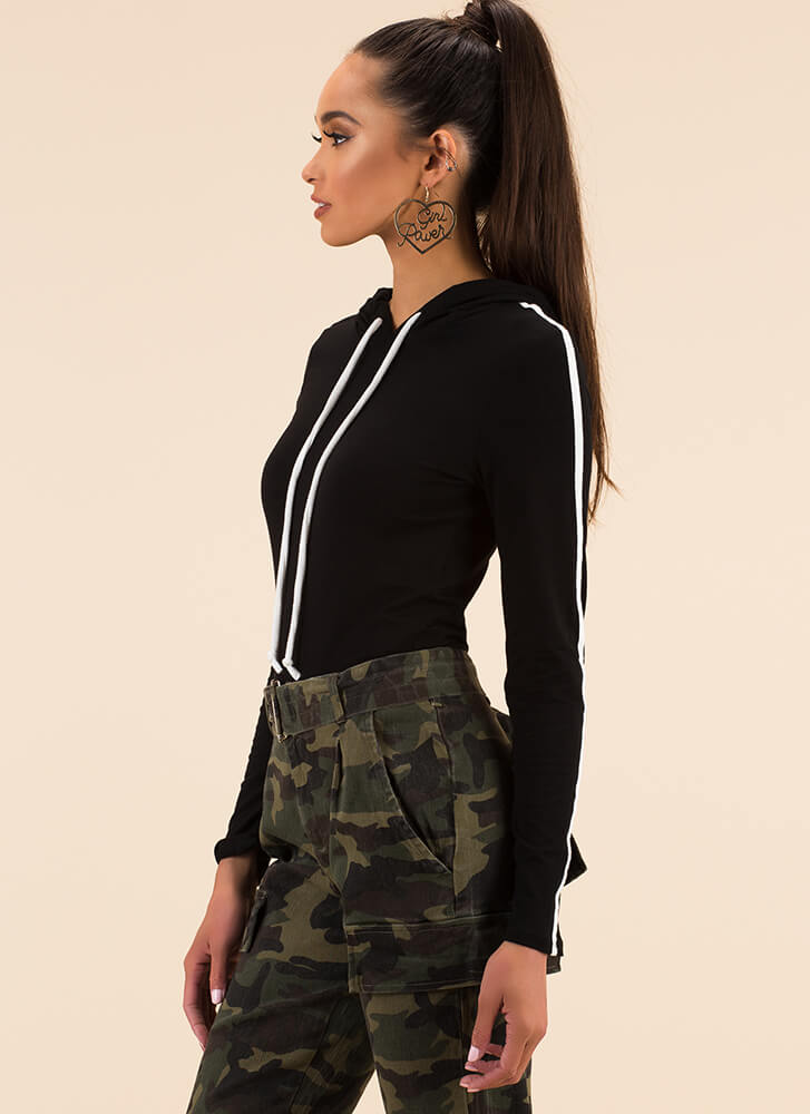Pure Athleisure Striped Hooded Top BLACK