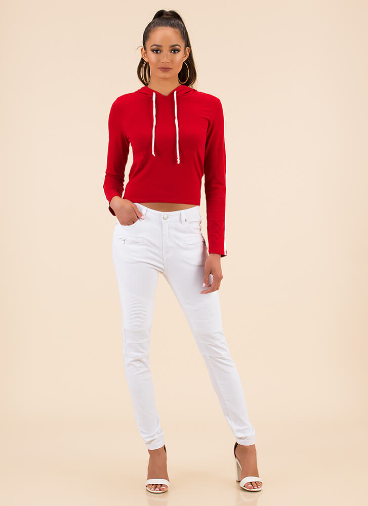 Pure Athleisure Striped Hooded Top RED