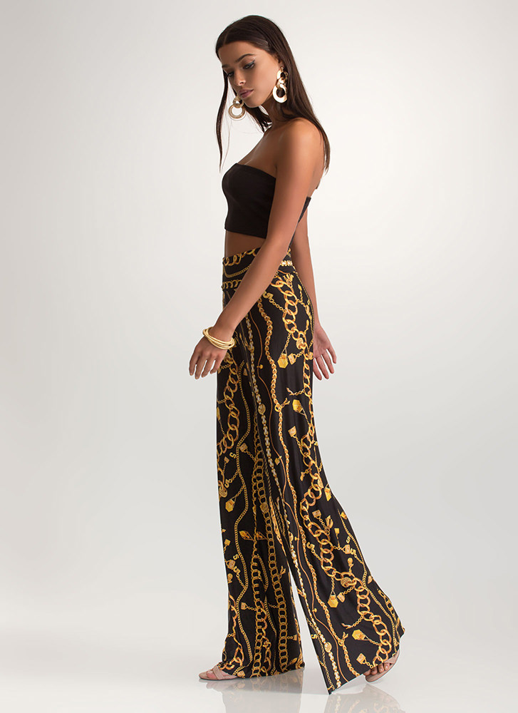 Good Chain-ge Printed Palazzo Pants BLACK