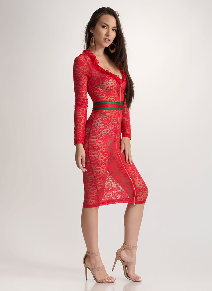 Winning Lace Sheer Striped Midi Dress RED