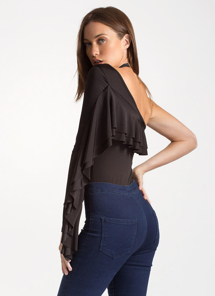 Ruffled Swoop One-Shoulder Bodysuit BLACK