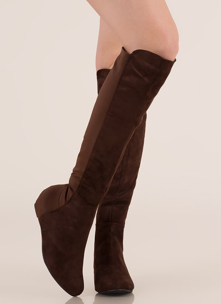 Mix A Lot Thigh-High Wedge Boots BROWN