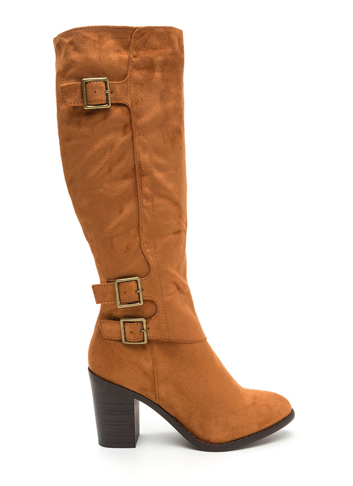 Triple The Fun Chunky Faux Suede Boots WHISKY