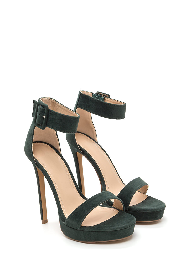 Heel Your Sole Ankle Strap Platforms HUNTERGREEN