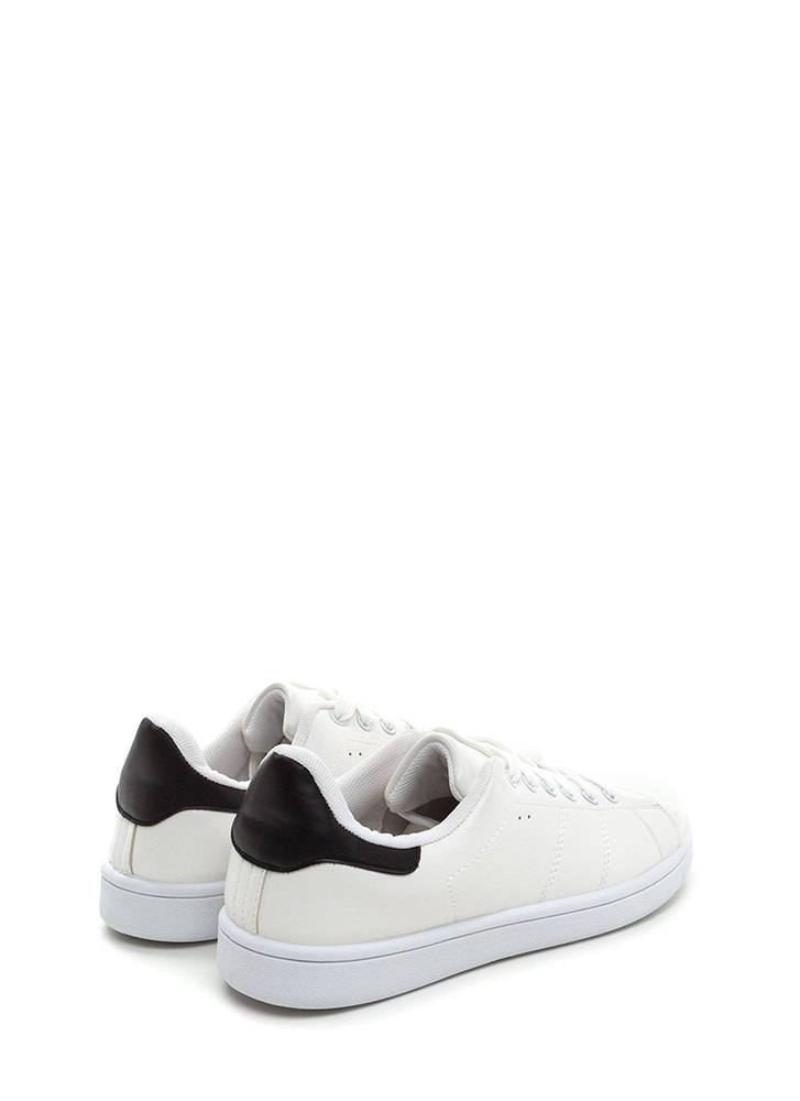Kick Back Lace-Up Faux Leather Sneakers WHITEBLACK