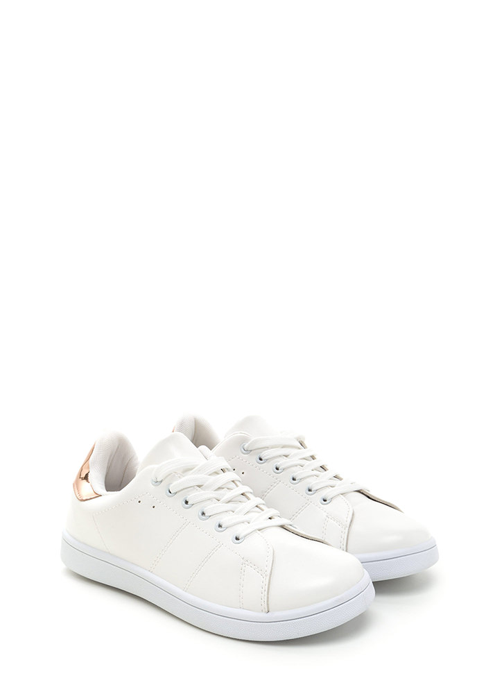 Kick Back Lace-Up Faux Leather Sneakers WHITEROSEGLD
