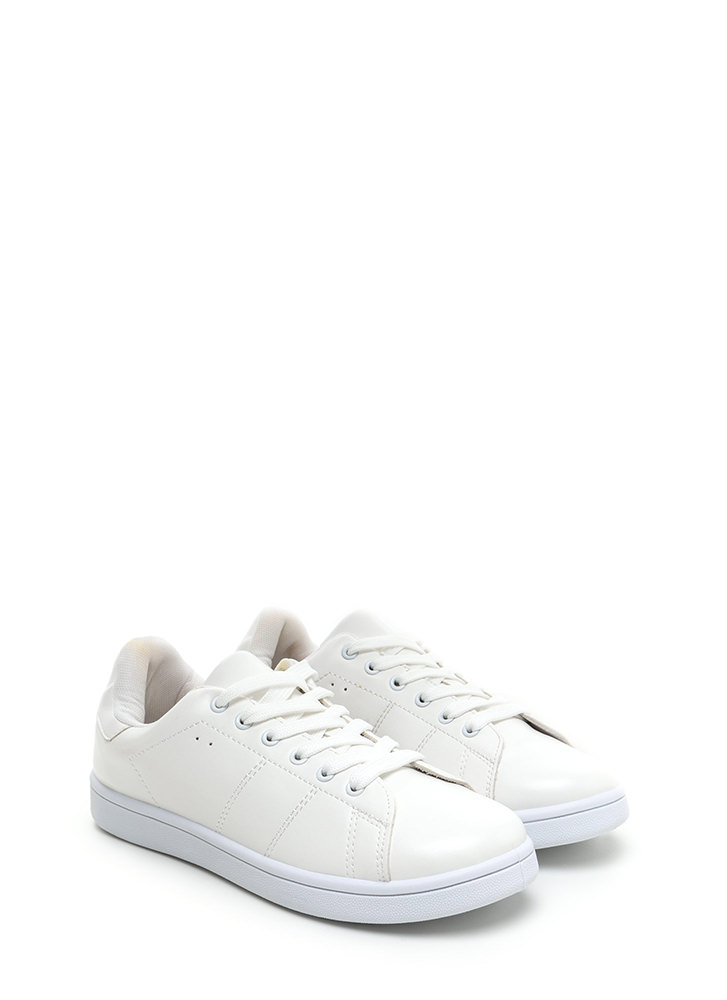 Kick Back Lace-Up Faux Leather Sneakers WHITEWHITE
