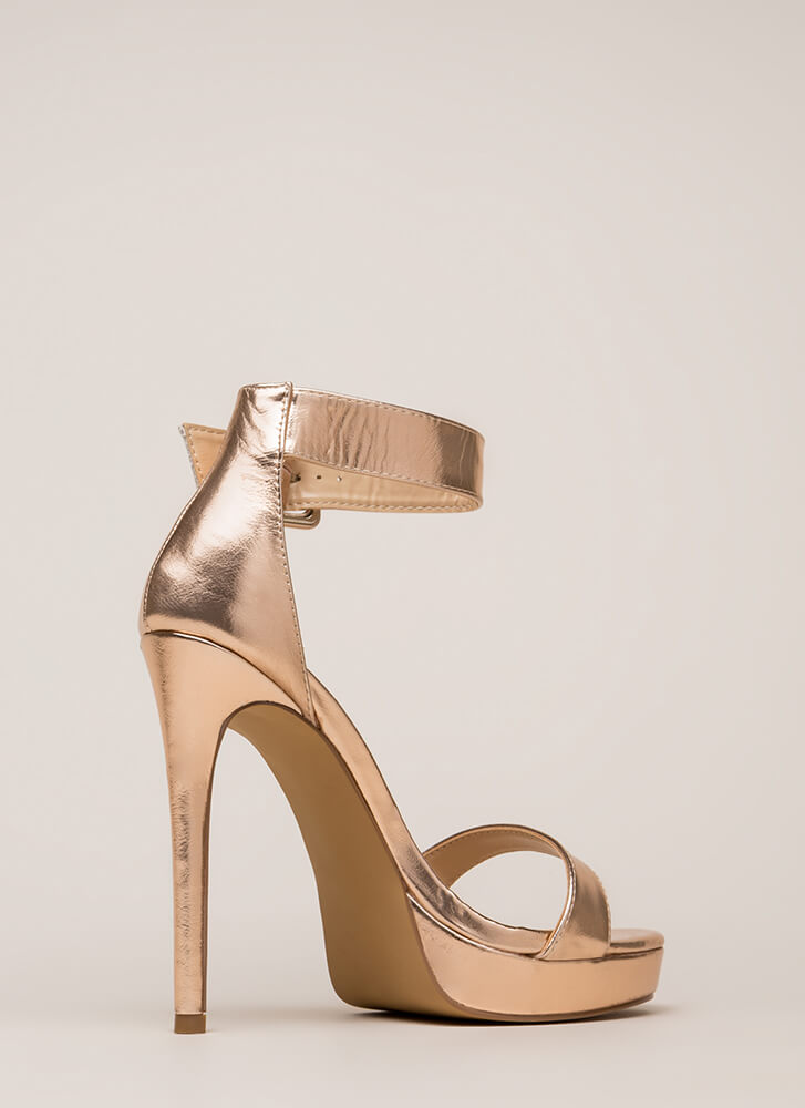 Heel Your Sole Metallic Platforms ROSEGOLD