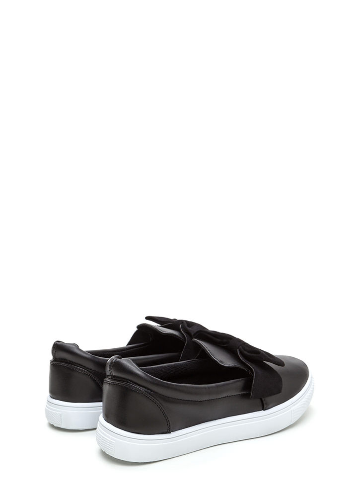 Just Bow With It Faux Leather Sneakers BLACK