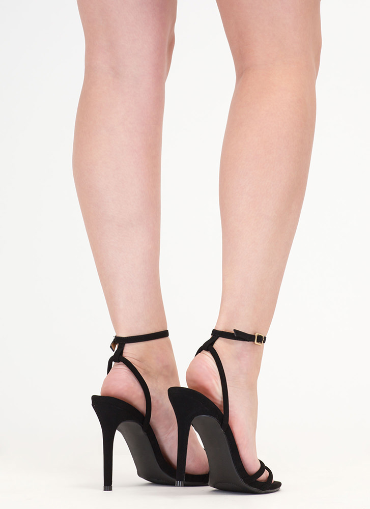 Chic Therapy Strappy Faux Suede Heels BLACK