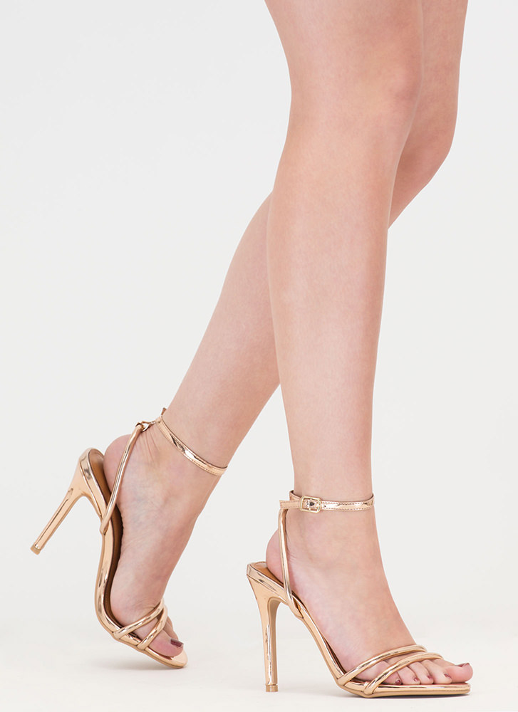 Shine Of The Times Strappy Heels ROSEGOLD