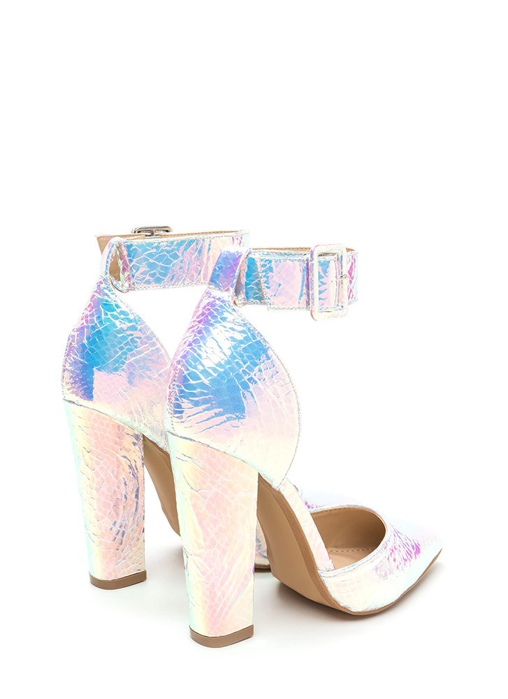 Point To Point Chunky Metallic Heels SILVER