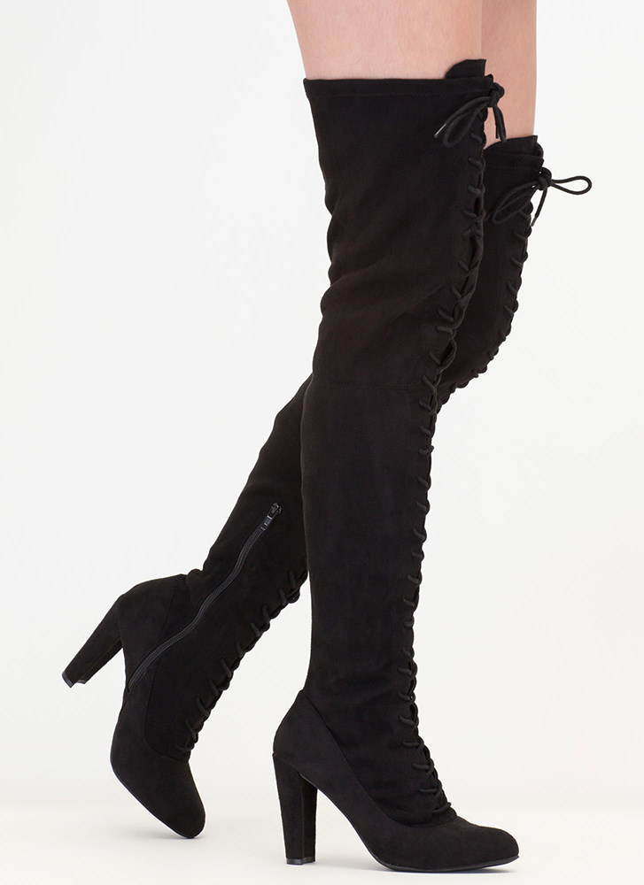 Win The Lace-Up Thigh-High Boots BLACK
