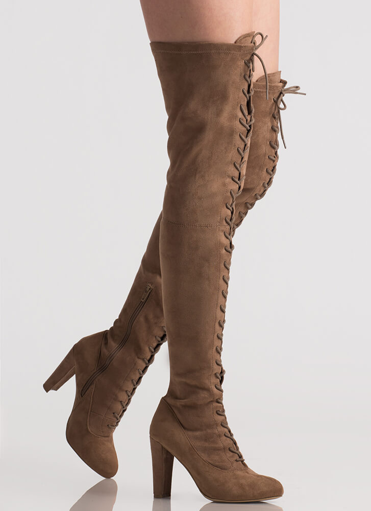 Win The Lace-Up Thigh-High Boots TAUPE