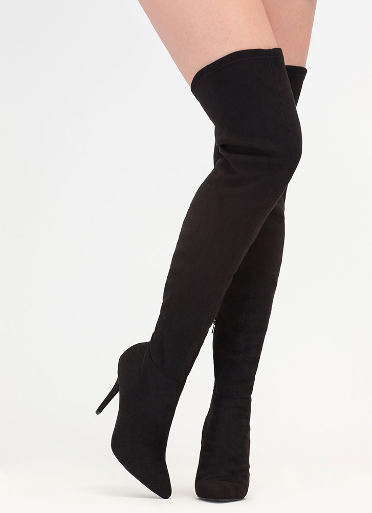 Fashion Forward Pointy Thigh-High Boots BLACK