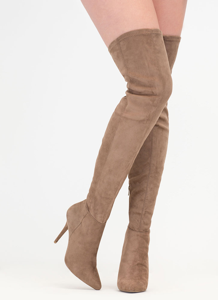 Fashion Forward Pointy Thigh-High Boots TAUPE