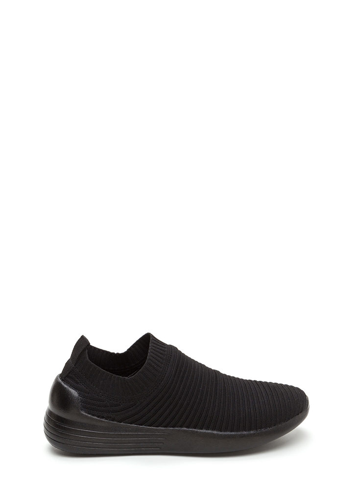 On The Go Textured Slip-On Sneakers BLACK (You Saved $16)