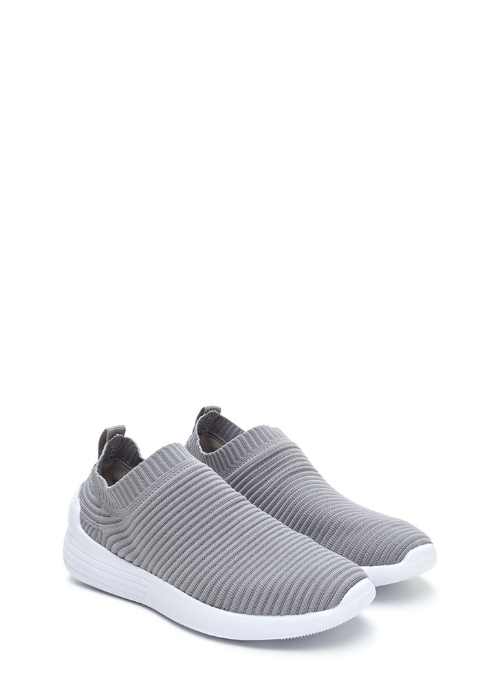 On The Go Textured Slip-On Sneakers GREY (You Saved $16)