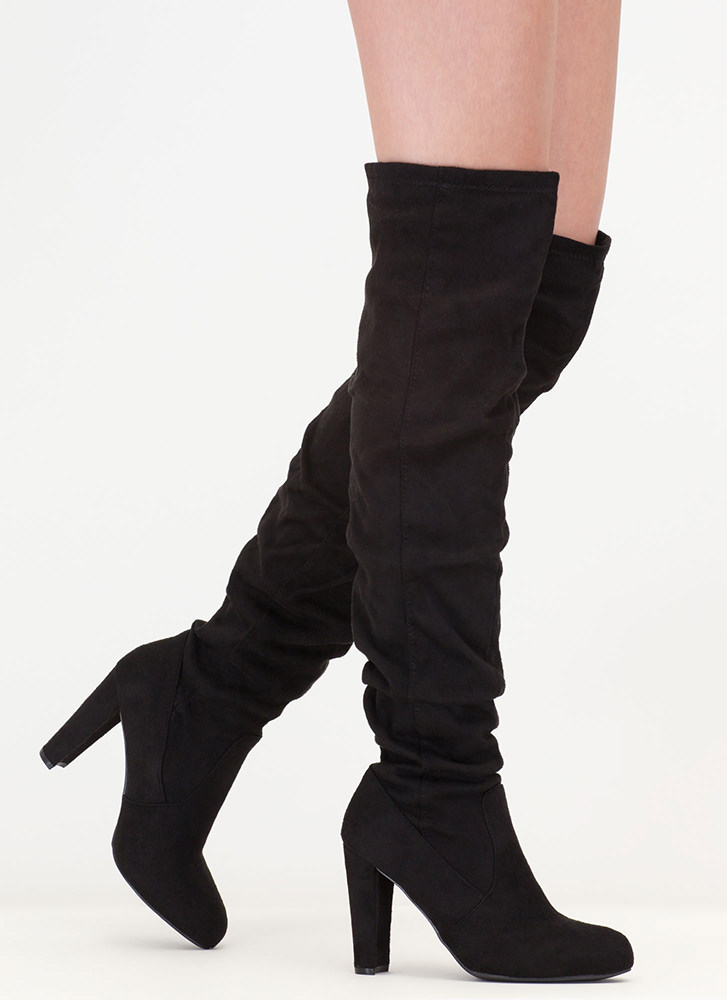 Slouchy Pick Faux Suede Thigh-High Boots BLACK