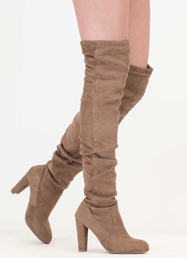 Slouchy Pick Faux Suede Thigh-High Boots TAUPE
