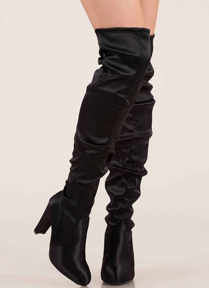 Slouchy Pick Satin Thigh-High Boots BLACK