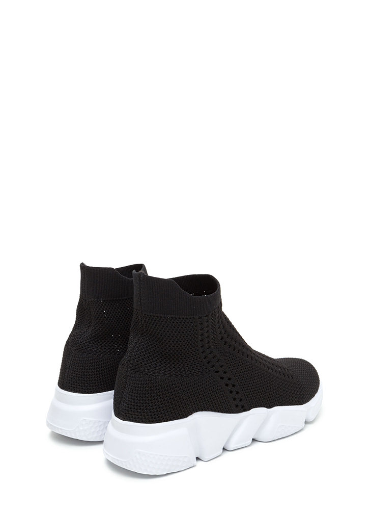 Athleisure Chic Textured Knit Sneakers BLACK