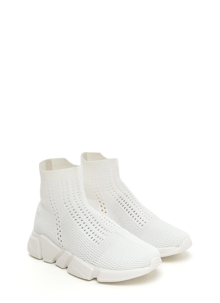 Athleisure Chic Textured Knit Sneakers WHITE