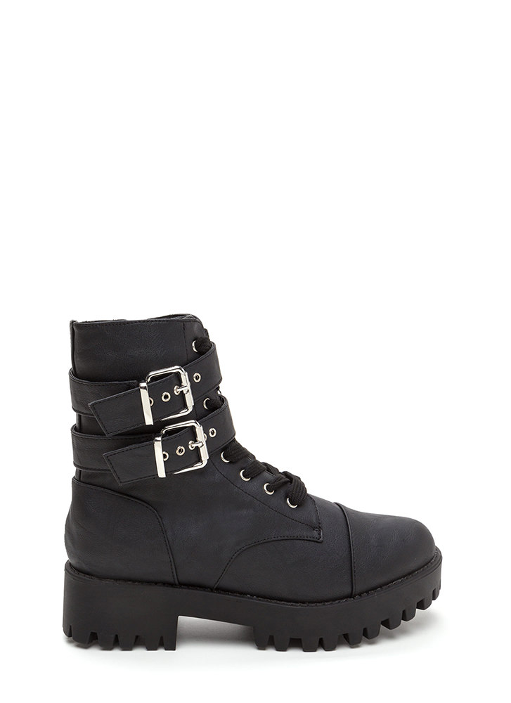 Lug Life Strappy Buckled Combat Boots BLACK