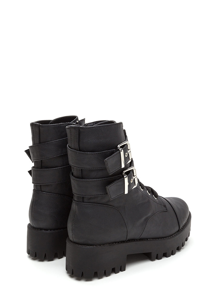 Lug Life Strappy Buckled Combat Boots BLACK (You Saved $37)