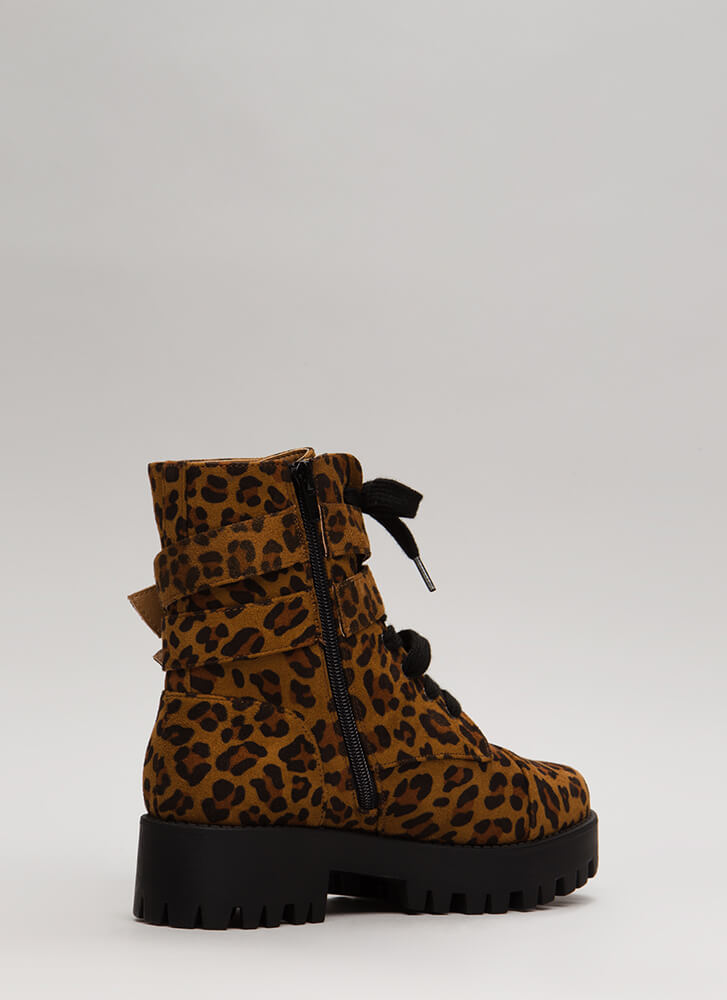 Lug Life Strappy Leopard Combat Boots LEOPARD