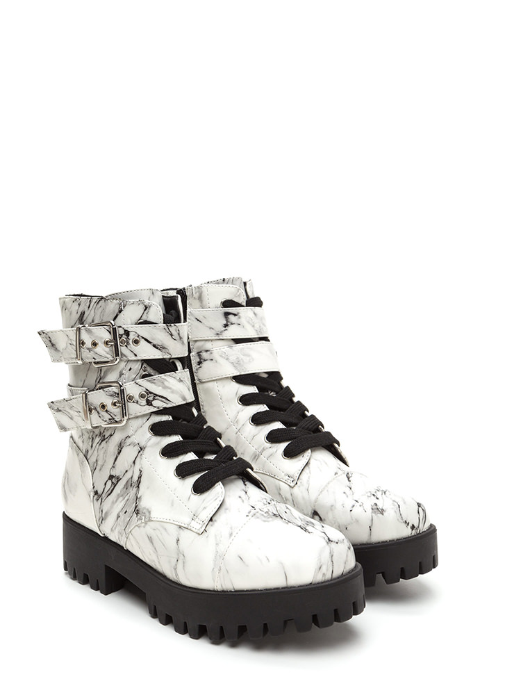 Lug Life Strappy Marbled Combat Boots WHITE