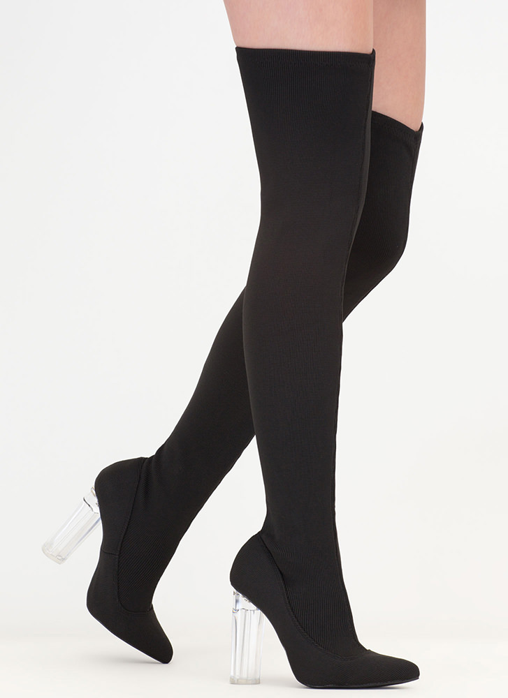 Knit Girl Style Chunky Thigh-High Boots BLACK