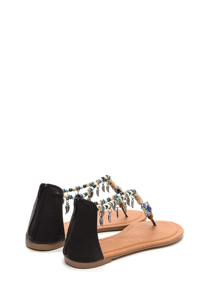 Feather Report Beaded Thong Sandals BLACK