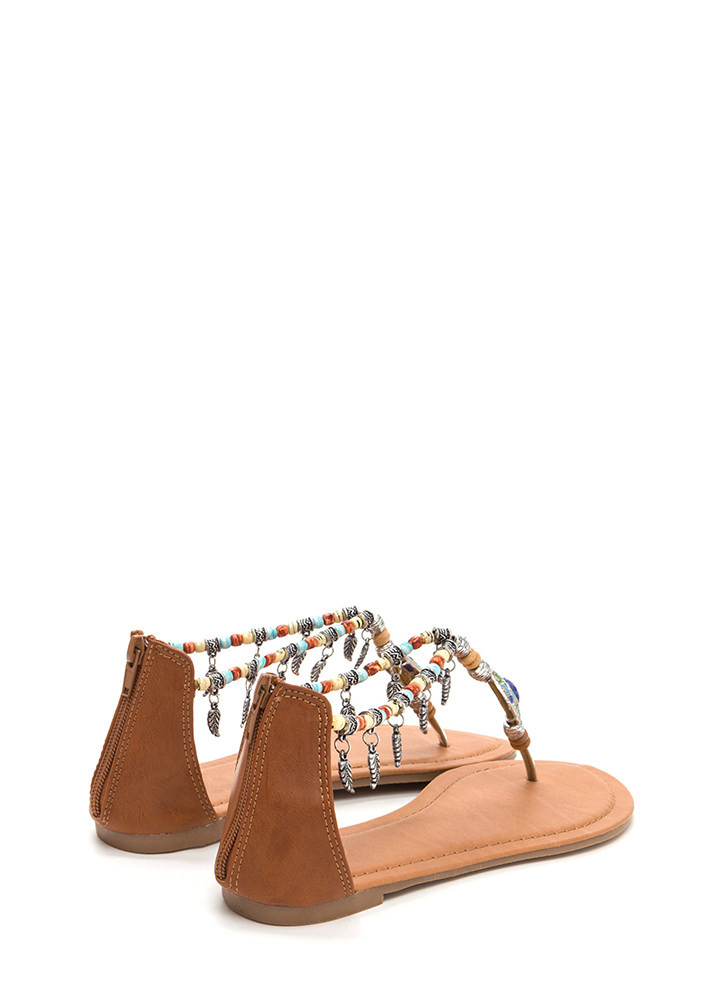Feather Report Beaded Thong Sandals TAN