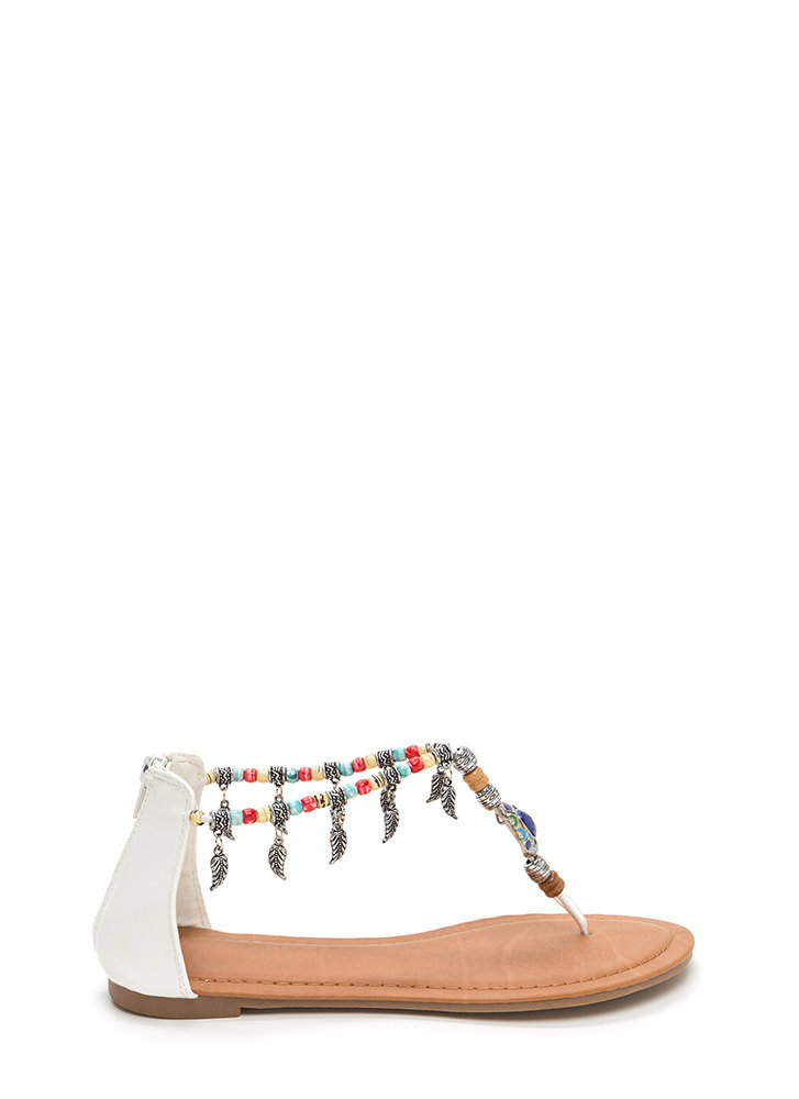 Feather Report Beaded Thong Sandals WHITE