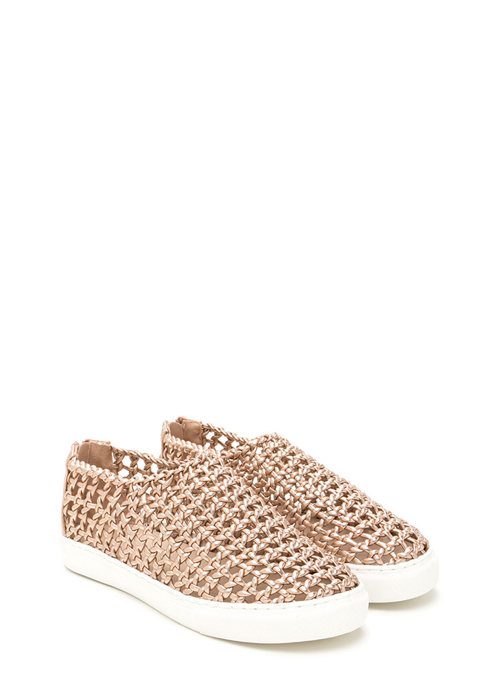 Weave A Message Metallic Sneakers ROSEGOLD