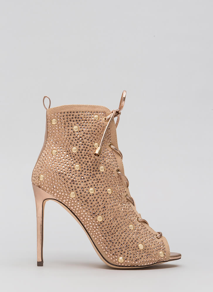 Studs And Stones Laced Metallic Booties ROSEGOLD
