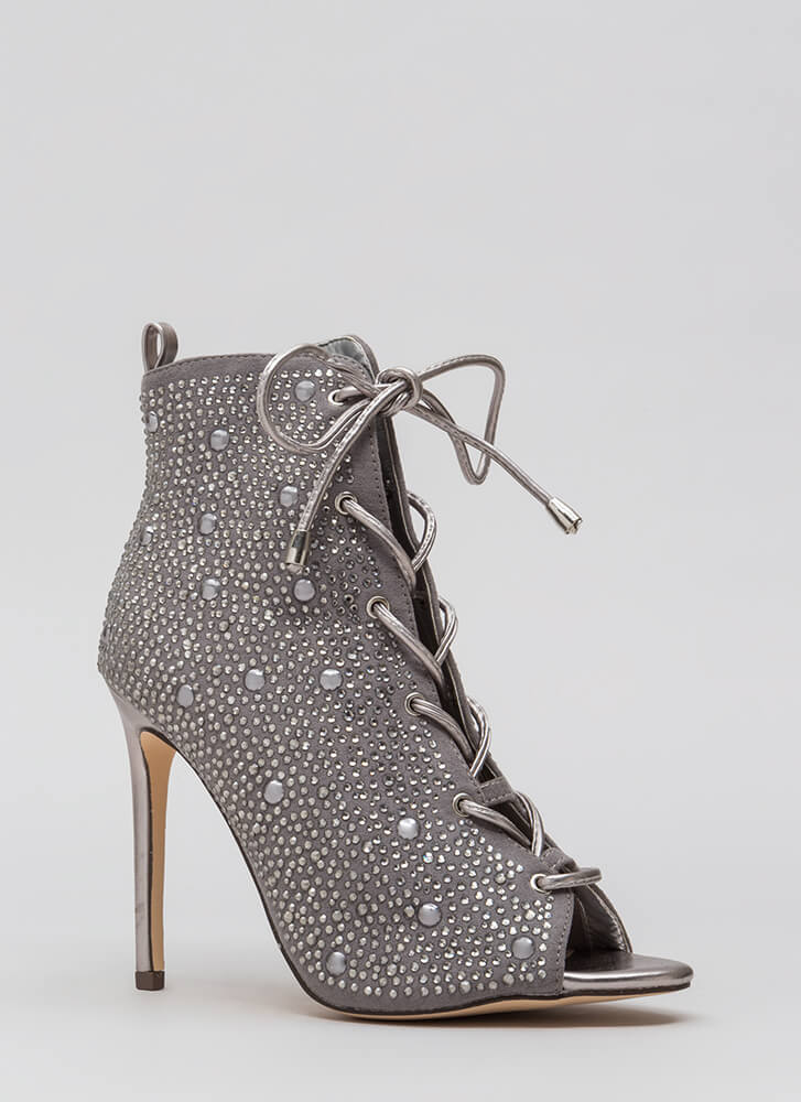 Studs And Stones Laced Metallic Booties SILVER