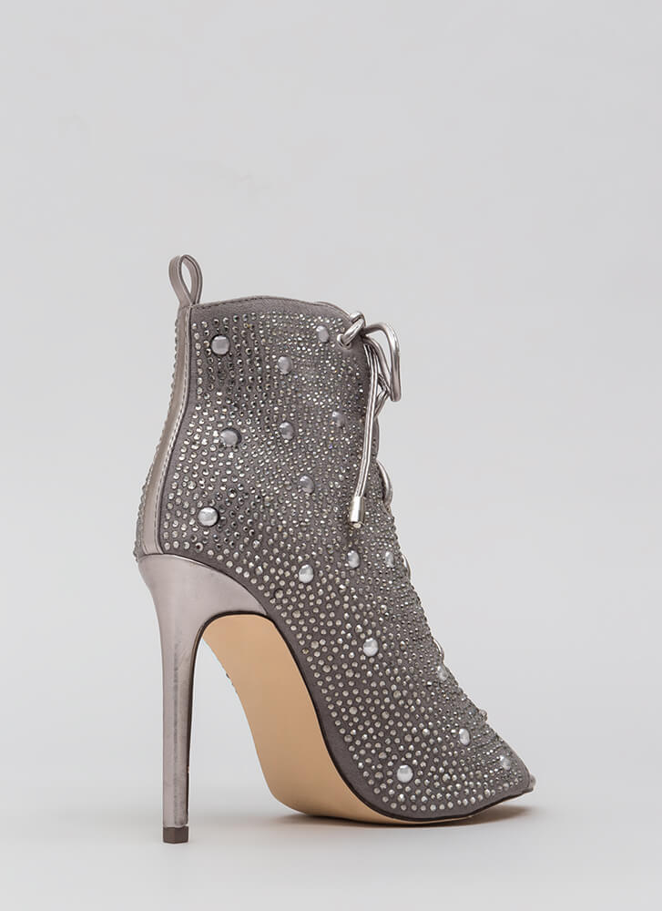 Studs And Stones Laced Metallic Booties SILVER (You Saved $31)