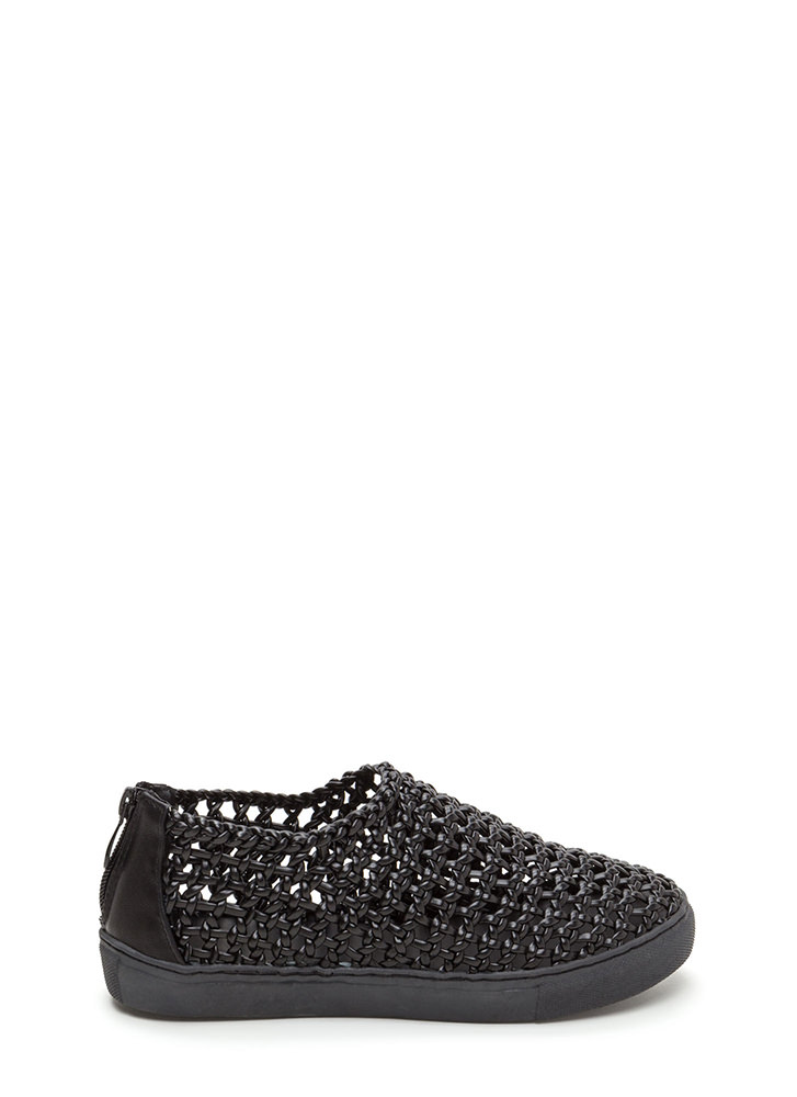 Weave A Message Braided Sneakers BLACK