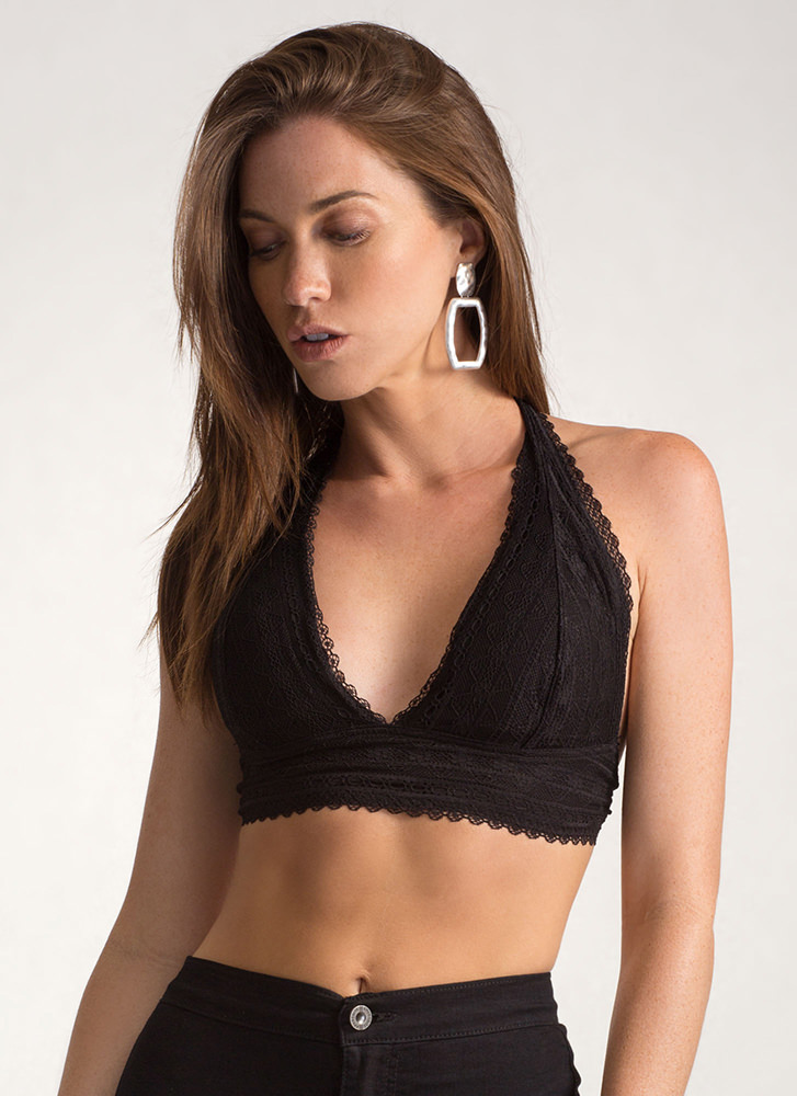Lace The Game Caged Halter Top BLACK