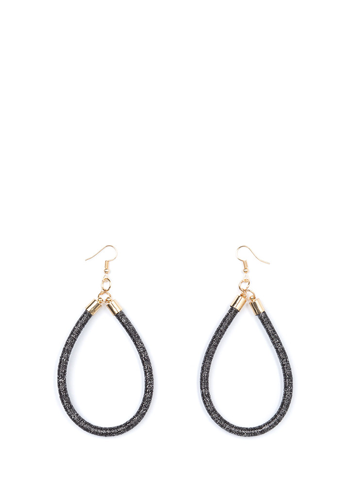 Drop It Looped Thread-Wrapped Earrings BLACK